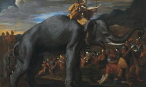 Hannibal crossing the Alps on elephants.
