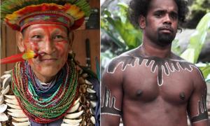 Left: Amazon shaman (Wikimedia Commons). Right: Australian Aboriginal