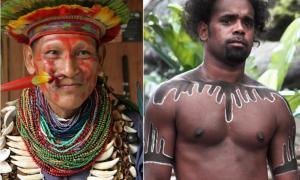 Left: Amazon shaman (Wikimedia Commons). Right: Australian Aboriginal