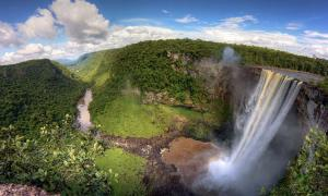 Falls in the Amazon in Bolivia, representation of area of Amazonia settlement.