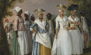 Painting titled 'Free Women of Color with their Children and Servants in a Landscape.' Life changed for American women as the eighteenth century progressed. Source: Public Domain