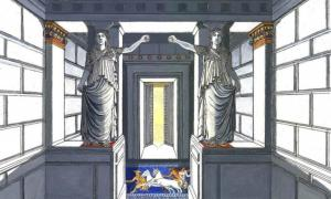 Artistic representation of the caryatids in the Amphipolis tomb.