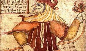 Detail, An illustration of Loki with a fishnet, from an Icelandic 18th century manuscript.