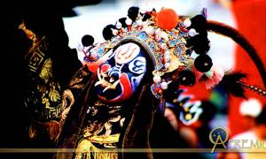 Dramatic mask with tusks and feathers, Ninghai, Zhejiang, China
