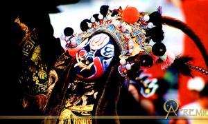 Dramatic mask with tusks and feathers, Ninghai, Zhejiang, China