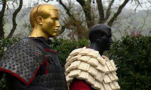 Reconstruction of Chinese paper armor, on the right
