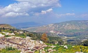 Sea of Galilee and southern Golan Heights, from Umm Qais, Jordan