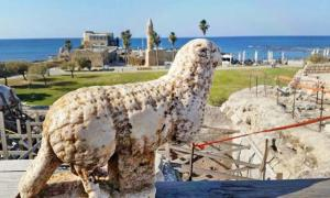 Statue of a ram that was discovered next to the vaults at the front of the temple platform in Caesarea. The town was founded by Herod the Great, king of Judea under the Roman Empire
