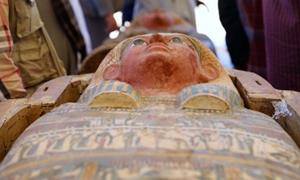 The sarcophagus found in the ancient Egyptian soldier's tomb; the largest rock cut tomb found to date in Thebes.