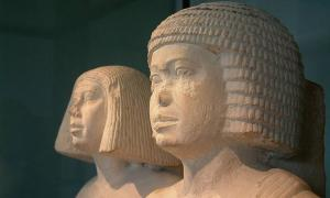 Egyptian couple wearing formal wigs of the 4th of 5th dynasties.