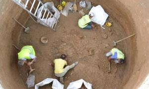 Archaeologists at work at one of the 8 digs at the Piraeus Port aqueduct discovery area.