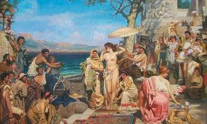 Phryne on the Poseidon's celebration in Eleusis by Nikolay Pavlenko, 1894