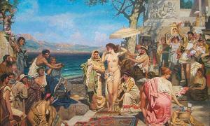 Phryne on the Poseidon's celebration in Eleusis by Nikolay Pavlenko, 1894