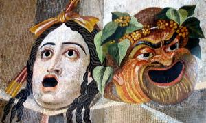 Mosaic, shown Gargoyles in form of Theatrical masks of Tragedy and Comedy. Roman artwork, 2nd century AD.