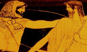 A vase-scene from about 410 BC. Nimrod/Herakles, wearing his fearsome lion skin headdress, spins Noah/Nereus around and looks him straight in the eye. Noah gets the message and grimaces, grasping his scepter, a symbol of his rule - soon to be displaced in the post-Flood world by Nimrod/Herakles, whose visage reveals a stern smirk.