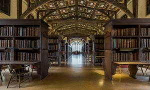 The interior of Duke Humphrey's Library, the oldest reading room of the Bodleian Library in the University of Oxford.