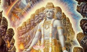The Purusha or 'cosmic man', which has a thousand heads and permeates the earth and universe in all directions.