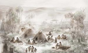 A scientific illustration of what the Upward Sun River camp, where the remains of the ancient child were discovered, would have looked like. Source: Eric Carlson in collaboration with Ben Potter.