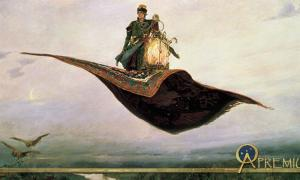The Flying Carpet, a depiction of the hero of Russian folklore, Ivan Tsarevich 1880 by Viktor Vasnetsov