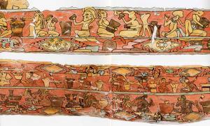 Ancient Mexican mural depicting drunken
