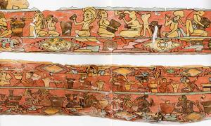 Ancient Mexican mural depicting drunken