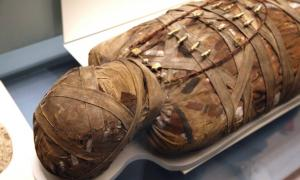 Egyptian mummy at the British Museum, London.