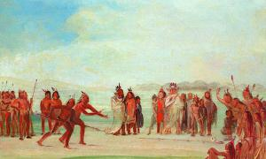"George Catlin, Tchung-kee, a Mandan Game Played with a Ring and Pole"", 1832-3."