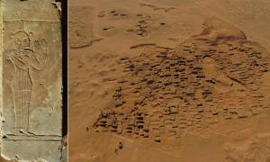The funerary chapel surround, depicting the goddess Maat. Image:© Vincent Francigny / Sedeinga archaeological mission/ CNRS. Right: Aerial view at Nubian pyramids Meroe
