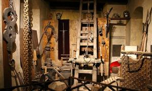 Chamber of torture devices and ancient punishments in Prague Castle