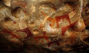 Some of the many paintings inside the Laas Geel caves, near Hargeisa in Somaliland, Somalia.