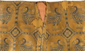 A detail from a silk samite shirt made by the nomadic Sogdian people of central Asia.