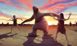 Artists impression of a giant sloth being confronted by human hunters. Credit: Alex McClelland, Bournemouth University