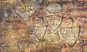 Ancient graffiti found at the Gutmana Ala cave, Sigulda, Latvia