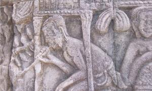 Ancient relief carving depicting drug use
