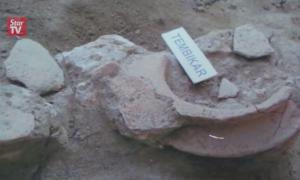 An ancient mast unearthed by archaeologistsat the Sungai Batu Archaeological Site, near Semeling, Malaysia.
