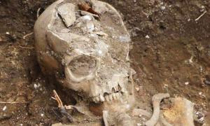 Skeleton of one of the individuals unearthed in Hildersham.