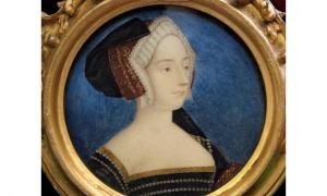 Anne Boleyn, Queen of England, 18th Century Miniature based on Holbein's Sketch.