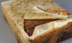 Found amongst almost 1,500 artifacts conserved from a group of buildings at Cape Adare, this Antarctic fruitcake made by Huntley & Palmers was discovered wrapped in paper within the rusted remains of its original tin. It was probably left behind by Scott's Terra Nova expedition. Source: Antarctic Heritage Trust