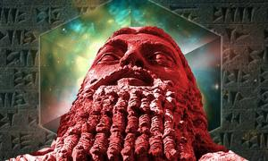 Ordered universe and cuneiform (Public Domain) and statue of Gilgamesh.