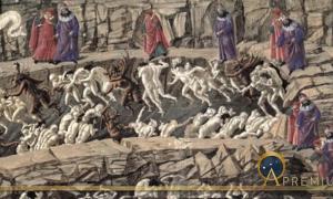 La Divina Comedia, Inferno XVIII by Sandro Botticelli ( 1481-88) Kupferstichkabinett, Berlin (Public Domain)