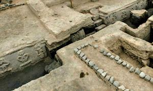 Photograph of part of the archaeological complex in Vichama, Peru.
