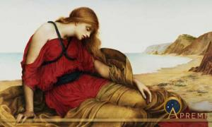 Ariadne in Naxos' (1877) by Evelyn De Morgan. (Public Domain)