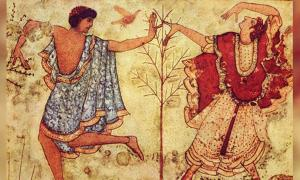 Detail of two dancers from the Tomb of the Triclinium in the Necropolis of Monterozzi.