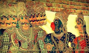 Hanuman and Ravana in Tholu Bommalata, the shadow puppet tradition of Andhra Pradesh, India.