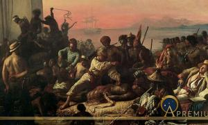 "The Slave Trade by Auguste-Francois Biard, (1840). As of June 2007 it hangs at the entrance to the ""From Slavery to Freedom"" exhibit at the National Underground Railroad Freedom Center in Cincinnati, Ohio."