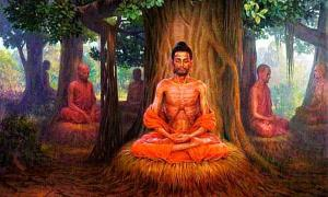 The Bodhisattva Gautama (Buddha-to-be) undertaking extreme asceticism before his enlightenment.