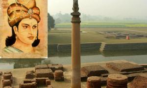 Ashoka the Great and an Ashoka Pillar at Tilaurakot, Lumbini, Nepal