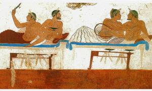 Detail of a Fresco from the North wall of the Tomb of the Diver in Paestum, Italy depicting Pederastic couples at a symposium.