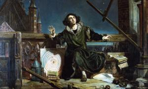 Astronomer Copernicus, or Conversations with God, by Matejko. In background: Frombork Cathedral.