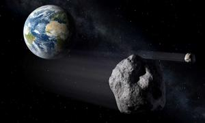 An illustration of a near-Earth object, or NEO, passing by Earth.